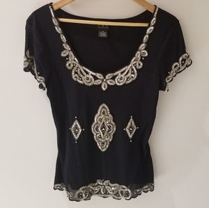 INC Jewel & Sequin Black Cap Sleeve Top (M)